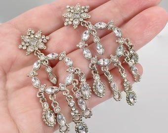 """Rhinestone Earrings, Dangle, Vintage Jewelry, 2 1/2"""" Long, Pierced Earrings, Clear, Silver, Big Statement, Prom, Evening Jewelry, Bridal"""