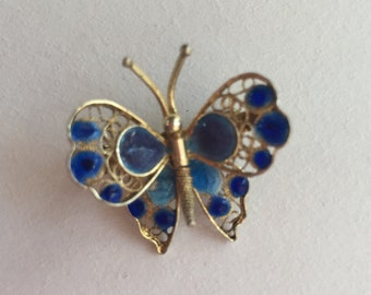 Vintage Dainty Butterfly Pin with Hand Painted Wings