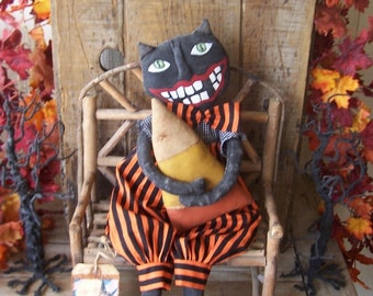 """Primitive Halloween Smiling Black Cat Holding Large Candy Corn   """"Trick or Treat"""""""
