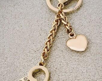 Heart Charm with Diamond Accents - Handbag Accessory, Keychain, Bag Charm - Gold or Nickel