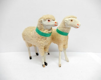 "vintage stick sheep, 2 German stick sheep, 3.5"" each, original neck band, Germany, Christmas decor, Easter, antiques"