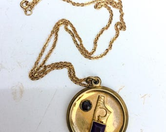 Vintage Pendant necklace. Modernist. Amethyst glass?  1940 40s. Vintage Jewelry. Watch chain fob. Gold fill