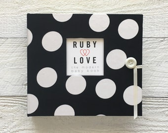 BABY BOOK | Black and White Large Polka Dot Album