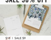 SALE 50% OFF 2017 Postcard Calendar - Florals - Clipboard - Office - Home - Teacher Gift - Illustrated - Beautiful - Simple - Gift - Holiday