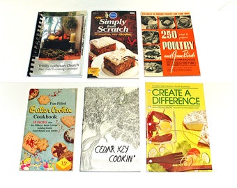 Old Cookbooks, Vintage Cook Books, Set of Six, Instant Collection, Old Recipes, Cedar Key Cooking, Ann Pillsbury, Trinity Lutheran
