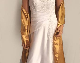 Satin wrap wedding shawl scarf bridal sash bridesmaid cover up shrug stole prom evening long wrap SW100 AVL IN gold and 18 other colors