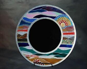 """Mosaic Mirror, Landscape, 18"""", round"""