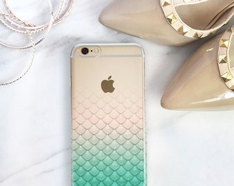 Mermaid Tail iPhone 7, 6S, Plus Case Clear, Gift For Her, Best Friend Christmas Gift Ideas Mermaid Phone Case, Summer Party