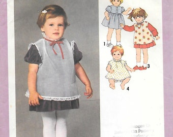 Simplicity 9299 1970s Toddler Dress Pinafore or Top and Panties Vintage Sewing Pattern