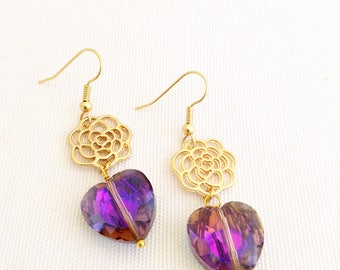 love heart earrings, purple crystal heart jewelry, crystal earrings, rose, new for mother's day