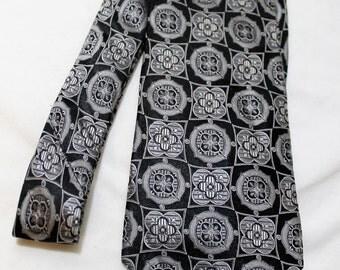 Vintage UMBERTO FRASI Black and Silver Paisley Silk Necktie, Extra Long