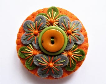 WAS 11.00,NOW 9.00  Flower Kaleidoscope Inspired Free form Embroidery Handmade Mini Felt Brooch