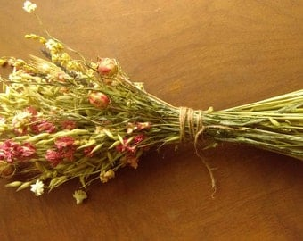 Pink Fields. Dried pink & green bouquet with larkspur, oats and spring wheat