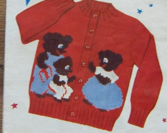 1954 Knit o Graf pattern The 3 BEARS Cardigan or Slipover sz 2-4-6-8  htf
