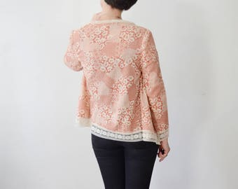 1970s Pink Floral & Lace Jacket - S