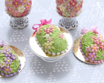 Spring Garden Blossom Easter Egg Cake (A - Dark Pink) for Spring (OOAK) - Miniature Food in 12th Scale for Dollhouse
