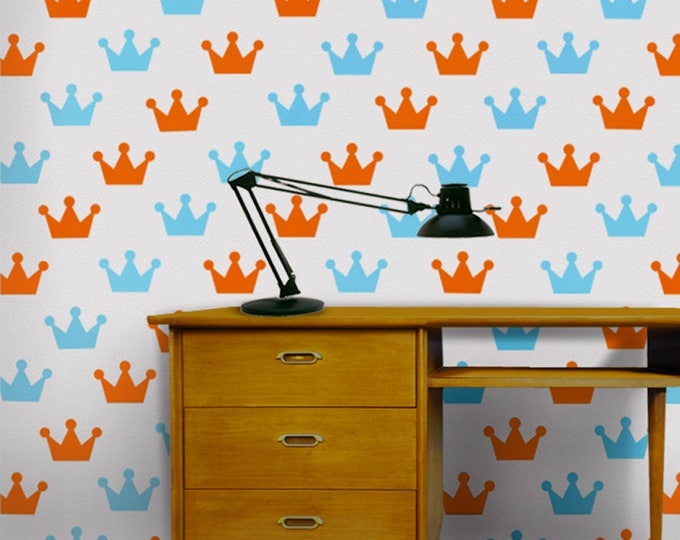 crown wall decal pattern set, crown vinyl sticker art, king, princess, queen art FREE SHIPPING