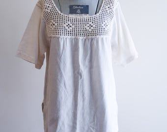 Cotton muslin CROCHET hippie festival top sz. Small / Medium
