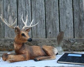 Vintage 1984 HOMCO Deer Buck Stag 12 Point Antlers Resin Statue / Figurine