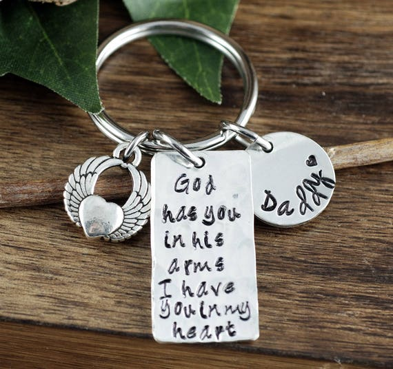 Sympathy Keychain, Loss of Loved One, Custom Keychain, God has you in his Arms, Loss of Loved One, Personalized Memorial Keychain