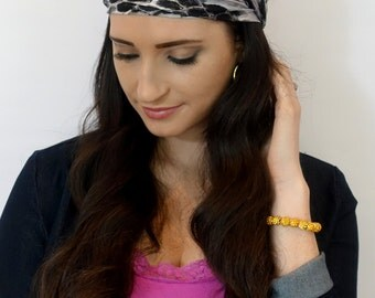 Wide Headband Black Gray Silver White Turband Jersey Head Wrap Snake Skin Head Wrap Hair Wrap Gift for Her Fitness Wrap