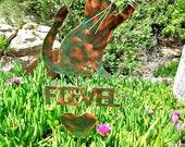 SOLD Cat With Butterfly Garden Stake / Metal Garden Art / Pet Memorial / Copper Art / Outdoor Yard Art / Cat Sculpture / Name Plate