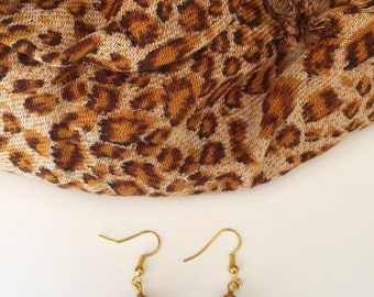 Handcrafted Earrings to match an Animal Print Scarf