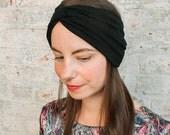 Black Turban Headband - black headband - wide headband - luxury womens headband - twist head wrap - hair wrap - viscose knit