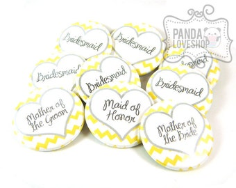 Chevron Bachelorette Party Buttons, Custom Wedding Party Buttons Chevron Print (Set of 10) 1.5 inch Pinback Buttons, Bridesmaids