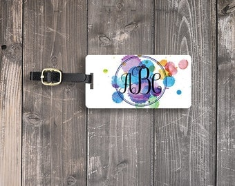 Monogram Luggage Tag Watercolor Paint Custom on Front Personalized Address or Info on backs Single Tag