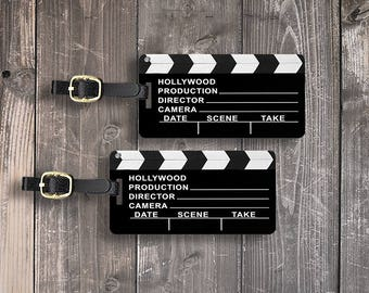 Luggage Tag Set Hollywood Clap Board Director Movies Metal Luggage Tag Set With Printed Custom Info On Back, 2 Tags Choice of Straps