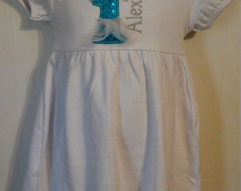 Frozen Inspired Number Tutu Crown Birthday Sparkle Number Personalized Short sleeve White Ruffle Dress 12m-10 yrs