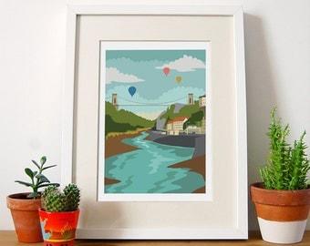 Bristol Art Print, Clifton Suspension Bridge, Hot Air Balloon, Bristol Illustration, Bristol Gift Ideas, Balloon Fiesta, Wall Art, A4, A3