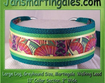 Jansmartingales,  Green Walking Lead, Dog Collar and Lead Combination, Greyhound, Large Dog Size, Grn116