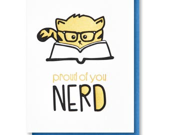 NEW! Funny Snarky Graduation Grad | New Job | Cat | Proud of You Nerd | Law School | MBA | Bar Exam | Letterpress Card | kiss and punch