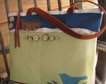 "Bird Tote, 11"" by 14"" by 3"" with 15"" zipper opening, Canvas Tote, Eco-friendly Tote, Vegan Bag,5 Large pockets, Ultra Suede handles"