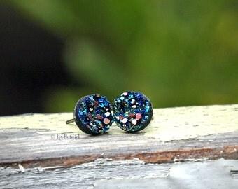 Rainbow Glitter Faux Druzy Earrings,  Rainbow on Black, Stainless Steel, Titanium, or Sterling Silver Post Earrings, 8mm Studs