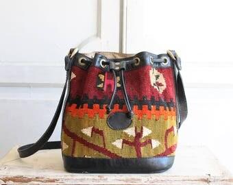 vintage woven kilim carpet bag | leather crossbody