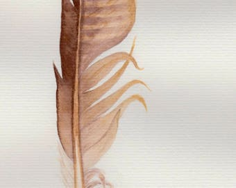 Golden brown feather -- original watercolour painting