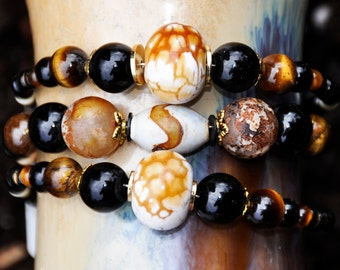 Collection of three agate, tiger eye and black onyx bracelets!