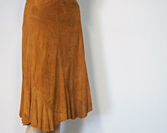Soft Suede Skirt 1970's Maurice Sasson Vintage Western Hippie Leather Skirt Size 8