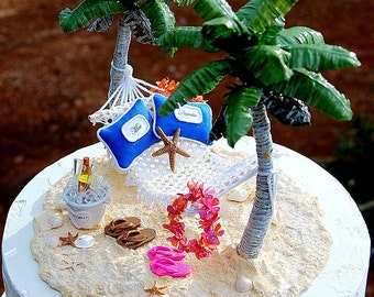 Beach Wedding Cake Topper SALE Base Attached Hawaiian Hammock/Champagne Custom Made To Order Your Colors Rustic Tropical Destination Wedding