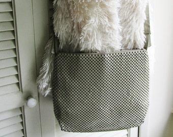 Vintage Whiting & Davis Taupe Enamel METAL MESH PURSE Crossbody 80's Art Deco Retro Bag Mothers Day Gift High Fashion Diva Runway Statement