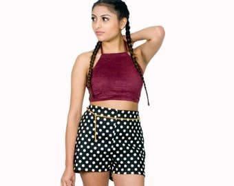 50% OFF High Waist Shorts Black Retro Polka Dots Stretch Twill Cute Summer Fashion
