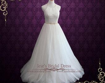 Simple Wedding Dress, Tulle Wedding Dress, Elegant Halter A-line Wedding Dress, Outdoor Wedding Dress | Paris
