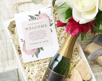 Wedding Welcome Note, Printable Wedding Welcome Bag Letter, Thank You, Vintage Bouquet, Itinerary, Agenda, Hotel Card - INSTANT DOWNLOAD