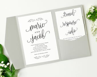 Printable Pocket Wedding Invitation | Pocket Invitation Template | Rustic Calligraphy | Edit in Word or Pages | Mac & PC | Instant Download