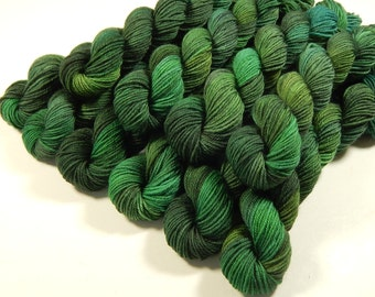 Mini Skeins - Hand Dyed Yarn - Sock Weight 4 Ply Superwash Merino Wool Yarn - Forest Multi - Knitting Yarn, Sock Yarn, Green Fingering