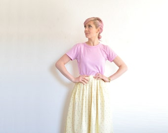 ice cream social skirt . pastel yellow high waist print skirt .extra small.small.xs .sale