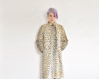 mod cheetah print coat . large cat pattern 1960 Ransohoffs winter jacket .small.medium